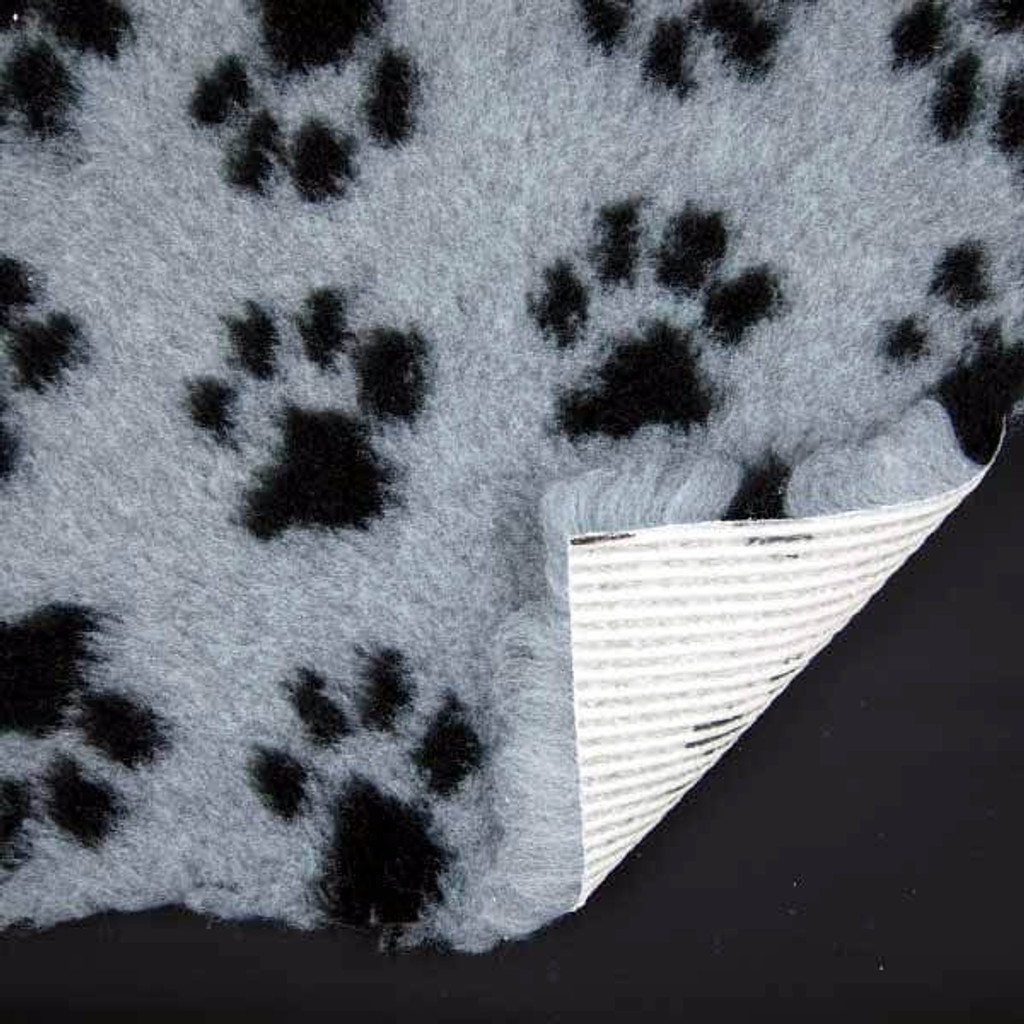 Grey and Black Paw Print Non-Slip ProFleece VetBed.