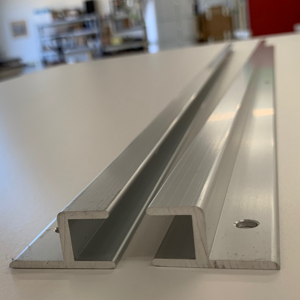 Aluminum Transfer Gate Rails showing H cut end detail
