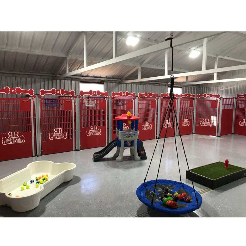 Red River Pet Resort using Gator Kennel's Signature Series custom dog kennels in red.