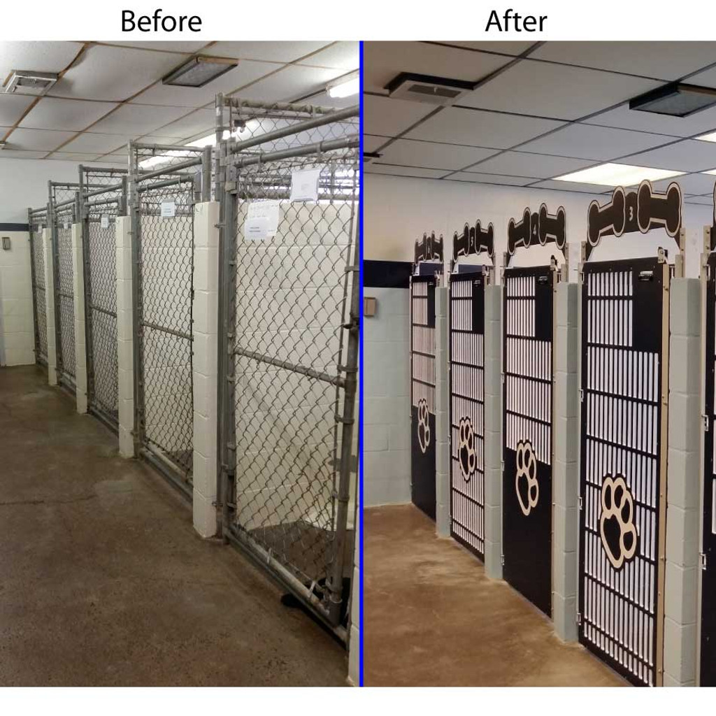 Before and after picture of kennel gate replacements at Animal Care Clinic North.