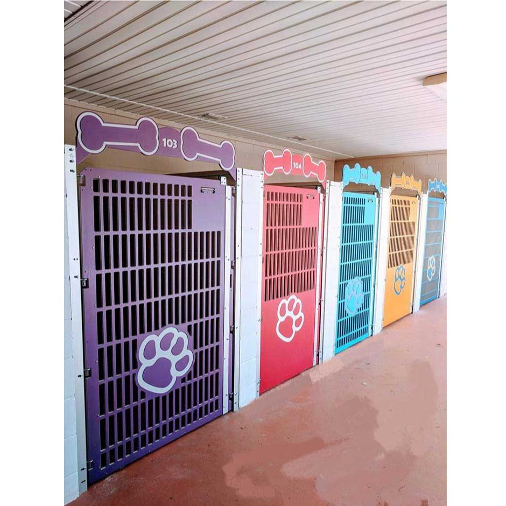 Mugus Pet Resort dog kennel gates.