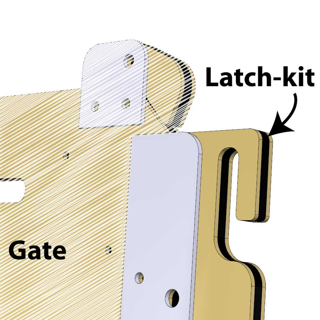Gate latch-kit for kennel gates.