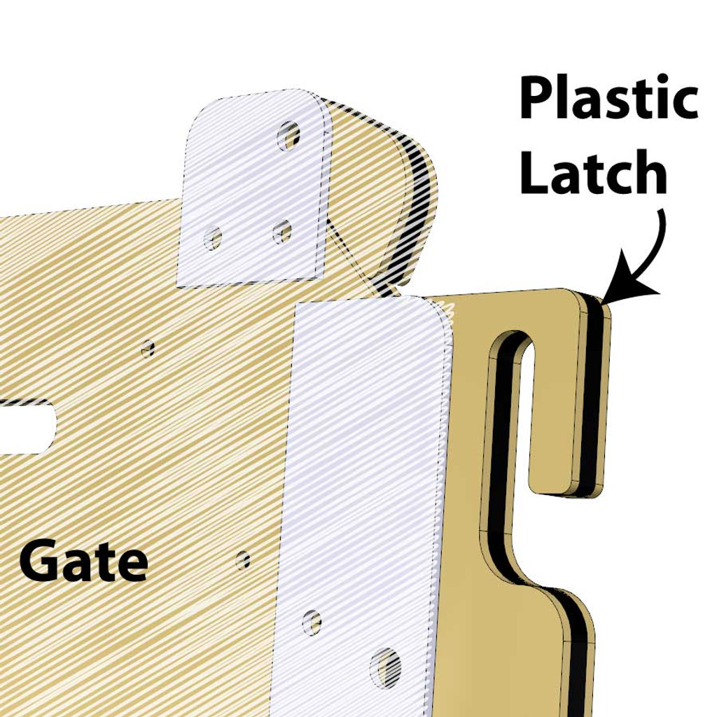 Replacement gate latch for dog kennels.