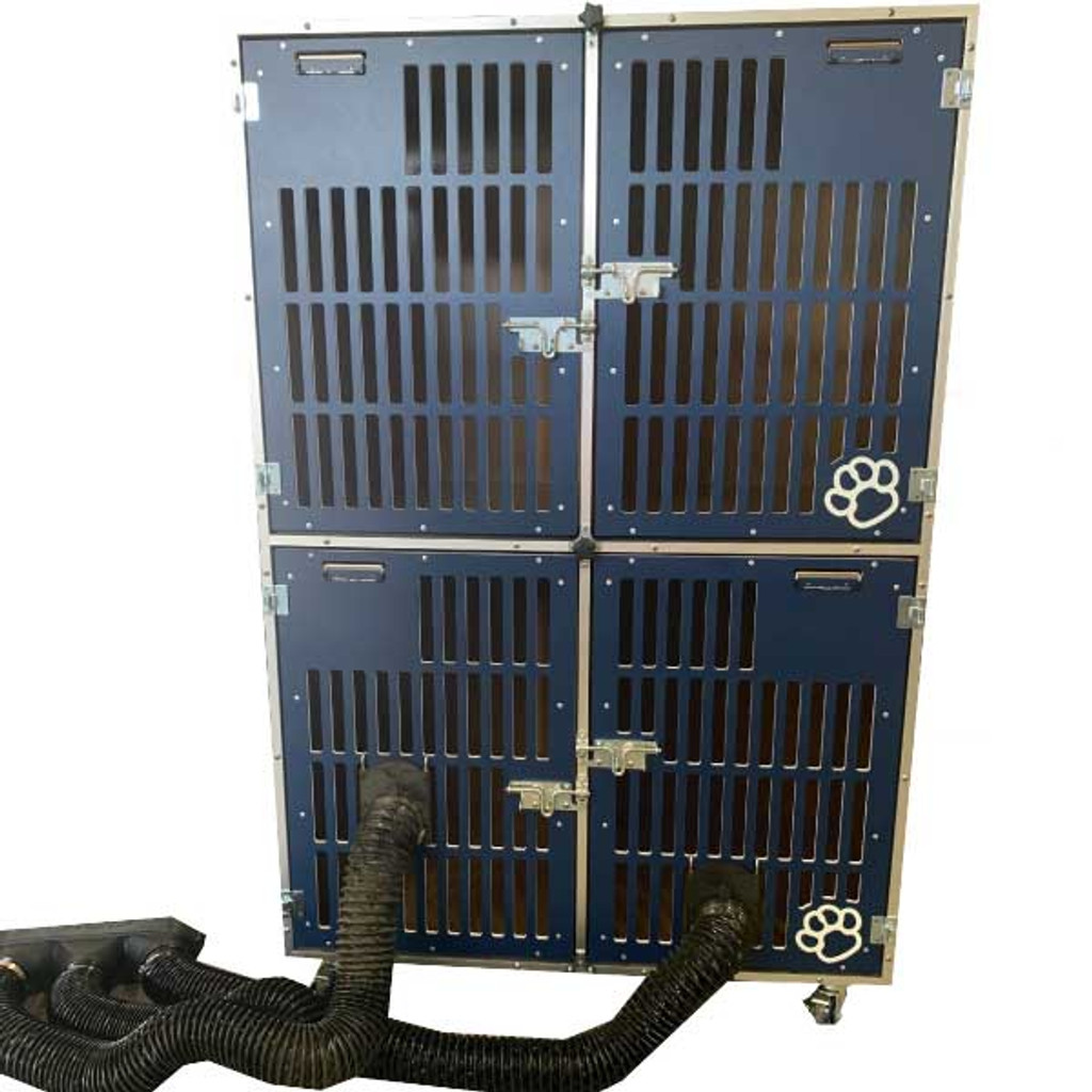 Gator Kennels Double Stack for Grooming, cage bank, with grooming hose attached.