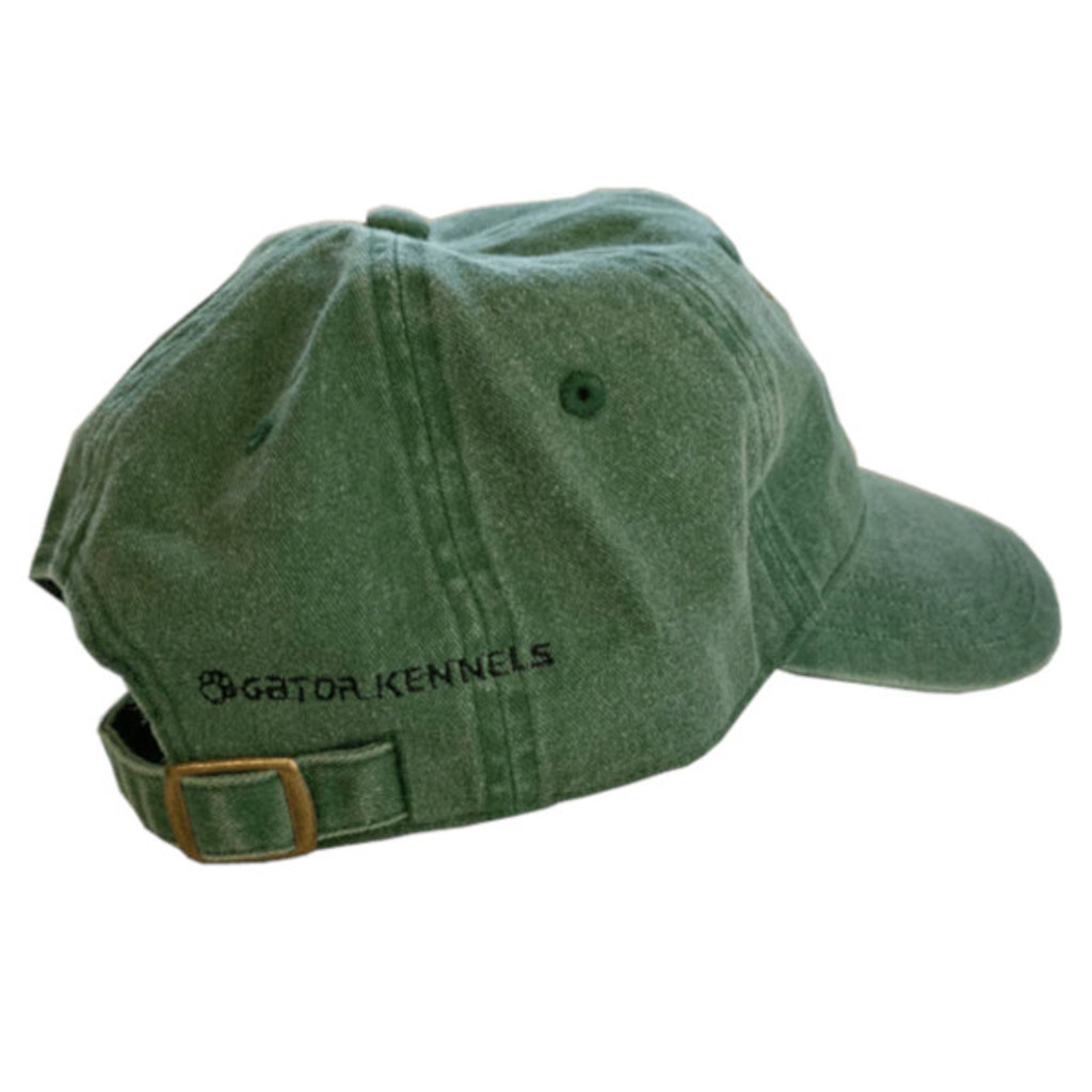 The Gator Kennels logo modestly embroidered on the back of the green hat.
