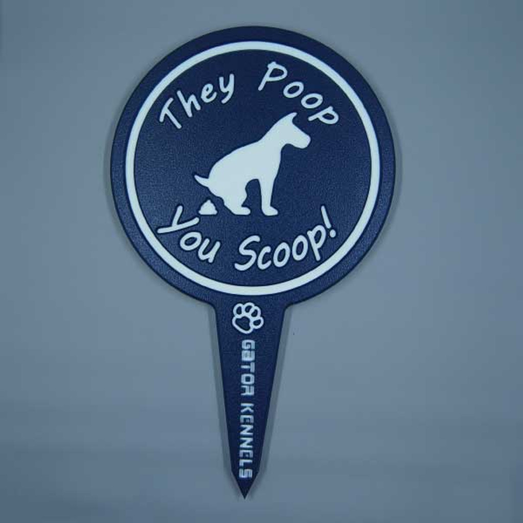 Navy blue they poop, you scoop image yard sign made from HDPE plastic.