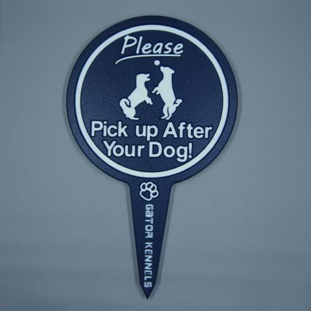 Navy blue please pick up after your dog image yard sign made from HDPE plastic.