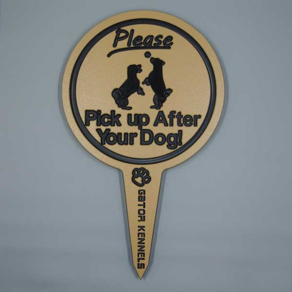 Tan please pick up after your dog image yard sign made from HDPE plastic.