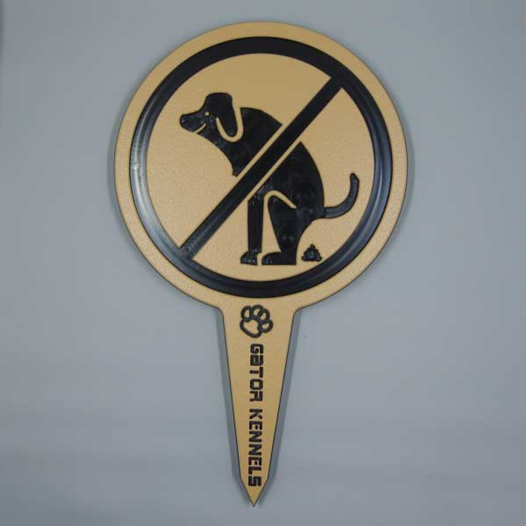 Tan no dog poop image yard sign made from HDPE plastic.