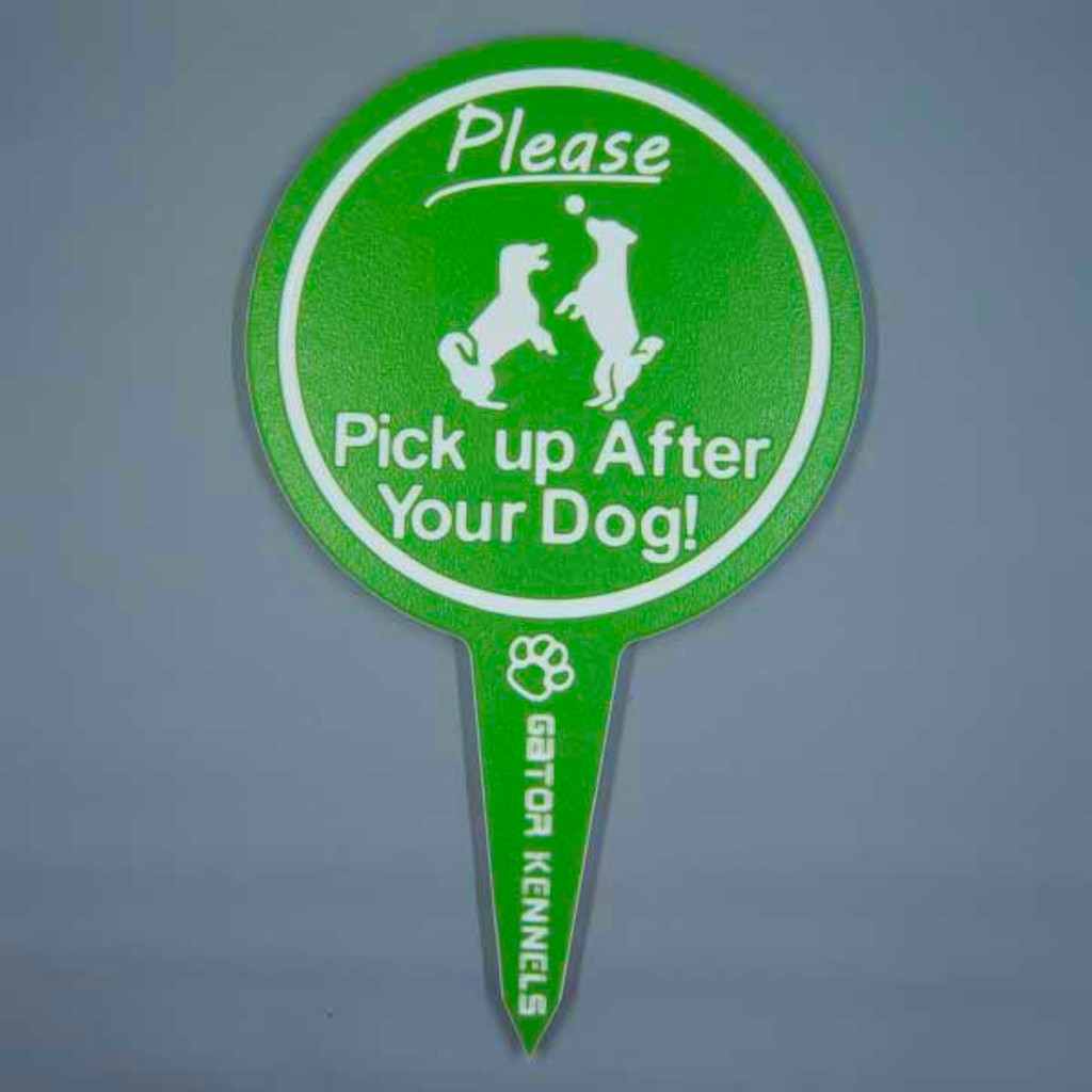 Lime Green please pick up after your dog image yard sign made from HDPE plastic.