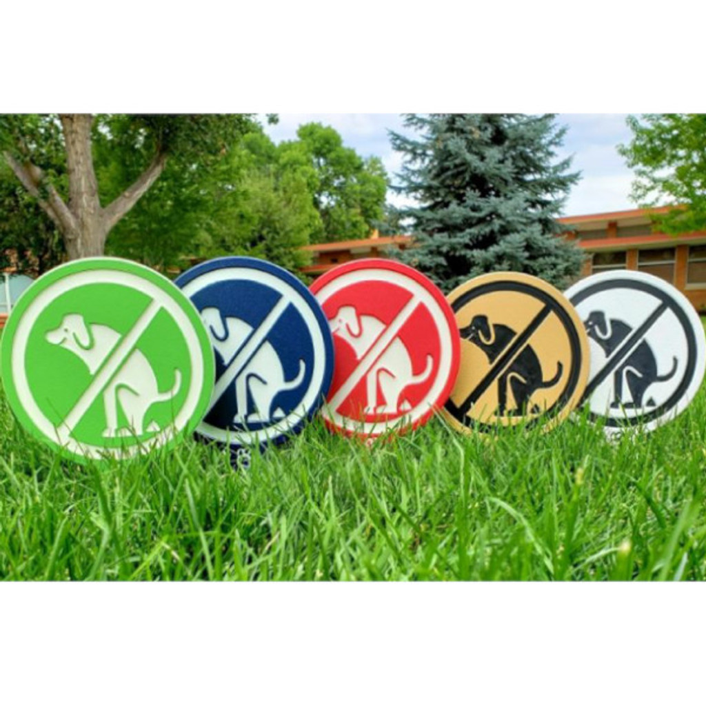No dog poop image yard sign made from HDPE plastic in all available colors.