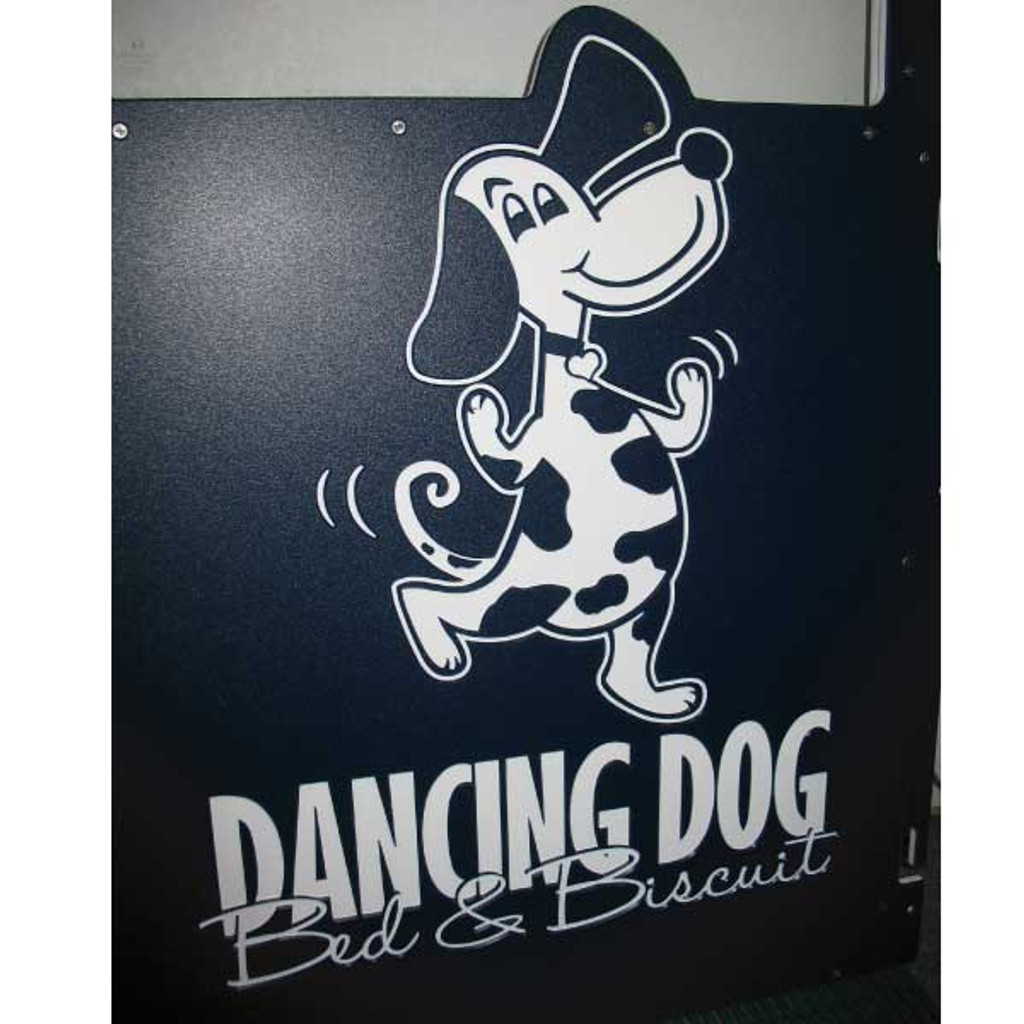 Dancing Dog Bed & Biscuit custom logo.