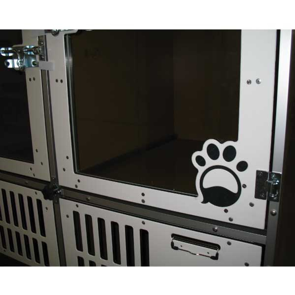 Fetch Pet Resort's custom logo on their Double Stack unit gates.