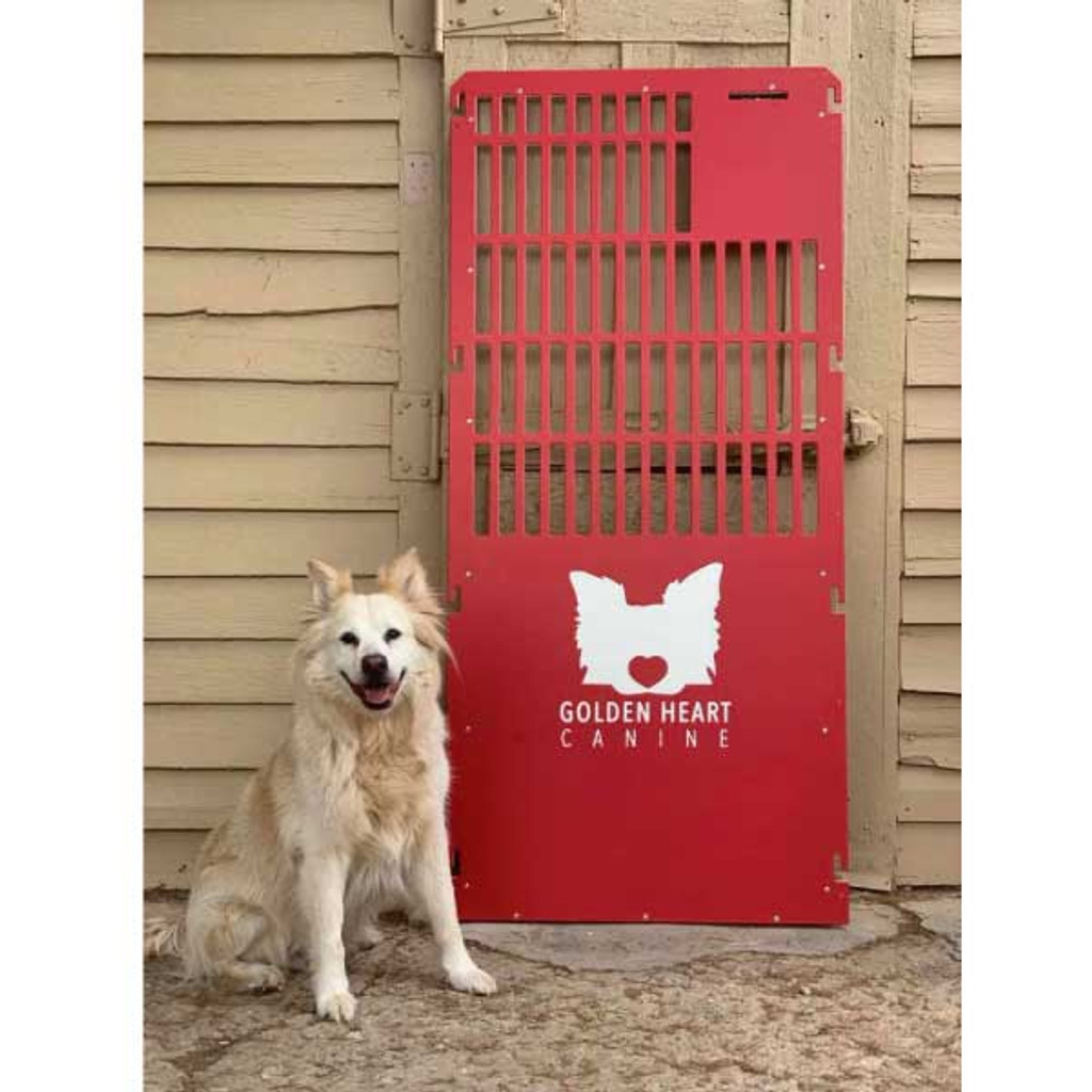 Golden Heart Canine's custom kennel gate with the inspiration for their logo.
