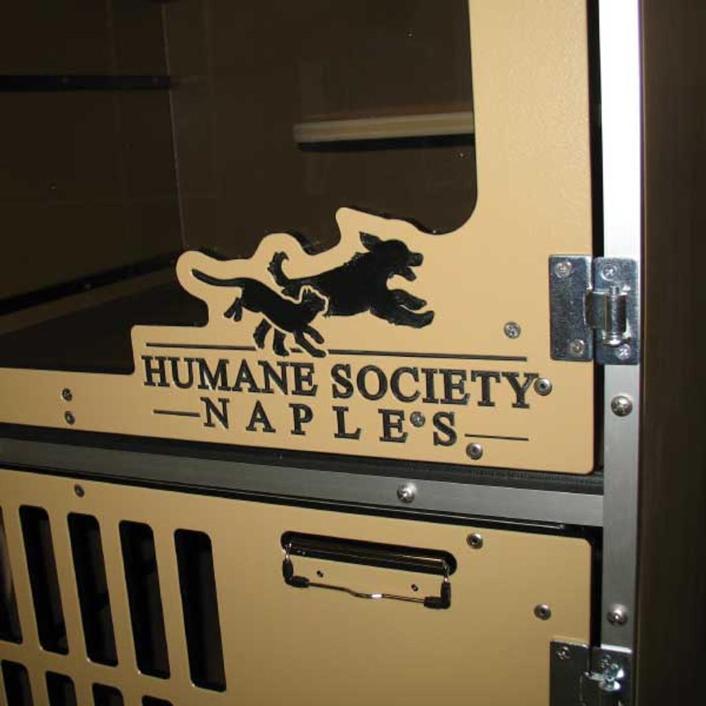 Humane Society Naples custom logo on their Cat Hotel gates.