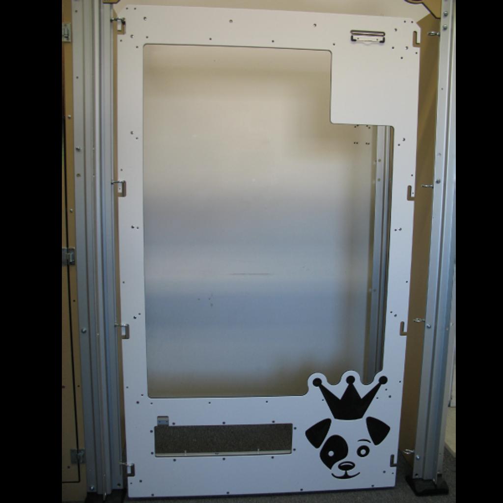 Full glass white kennel gates for iCare K9.