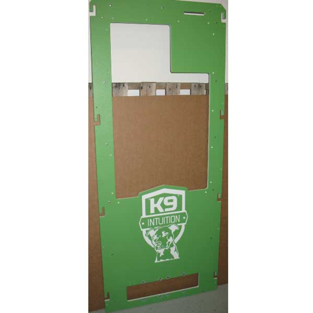 K9 Intuition's Gator Kennels gates in lime green.