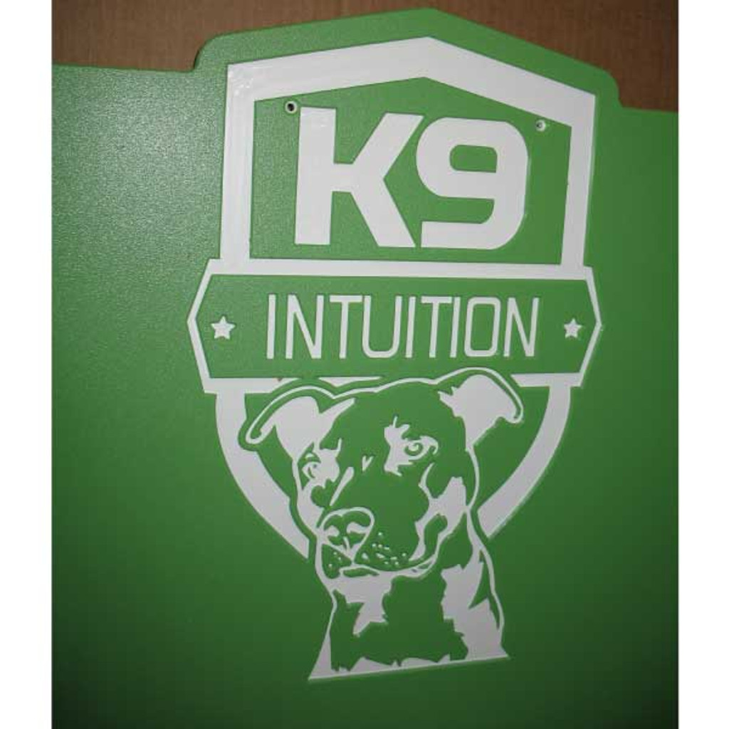 K9 Intuition's Gator Kennels gates in lime green with custom logo.