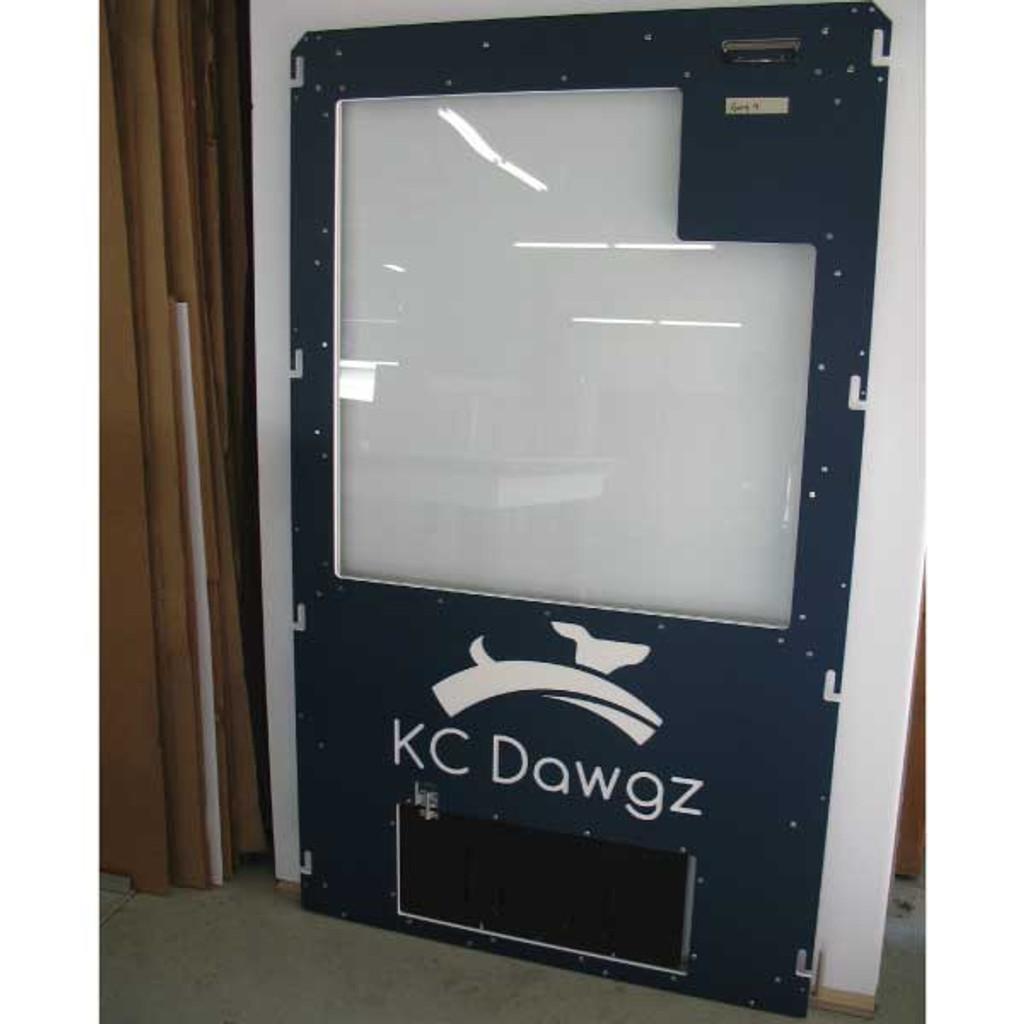KC Dawgs Gator Kennel gates in navy blue.