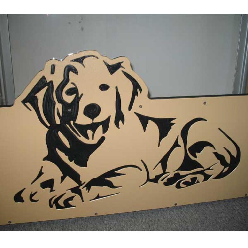 Pet Bazaar's custom logo on their kennel gates.