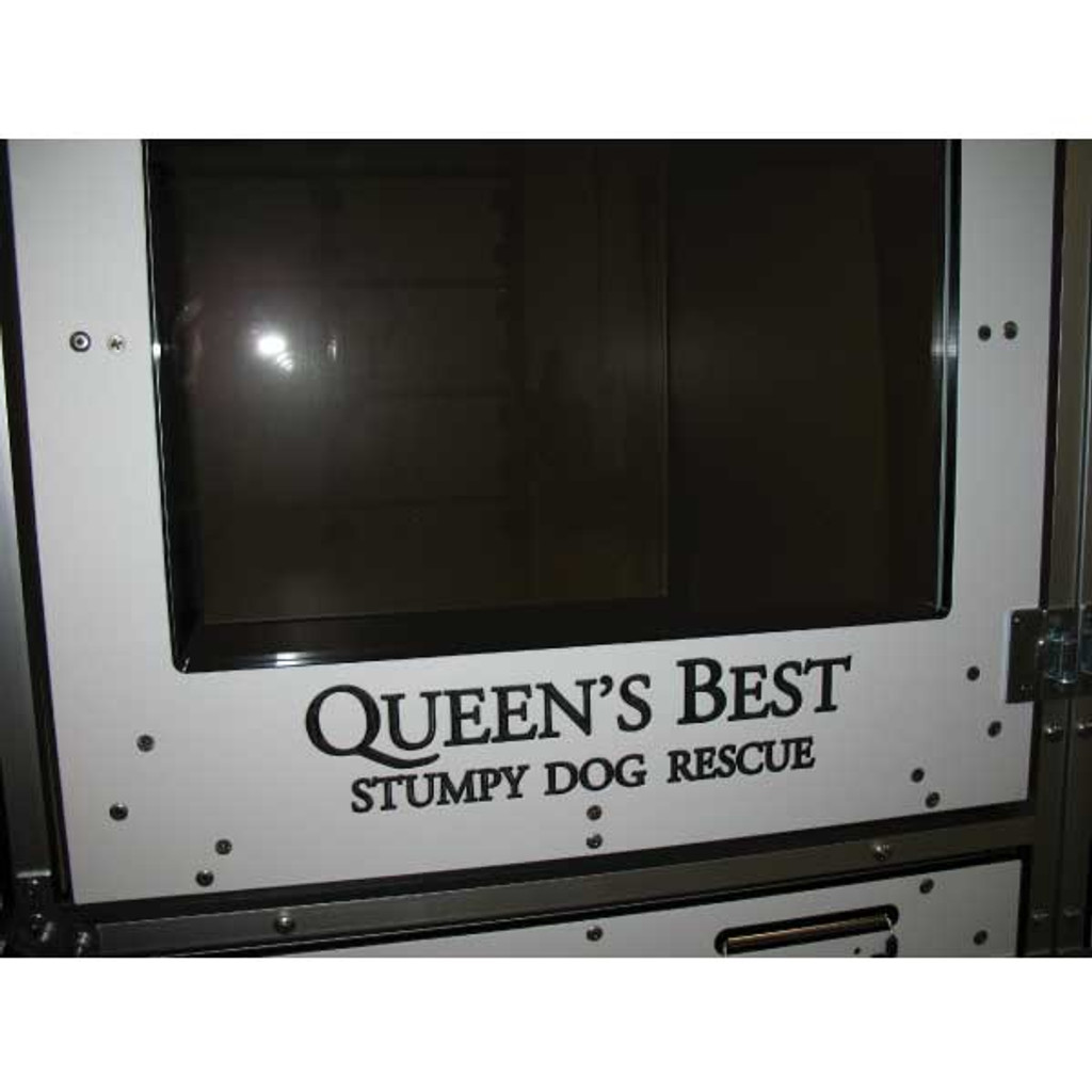 Queen's Best Stumpy Dog Rescue uses Gator Kennels' Double-stack for Boarding. Custom Logo.