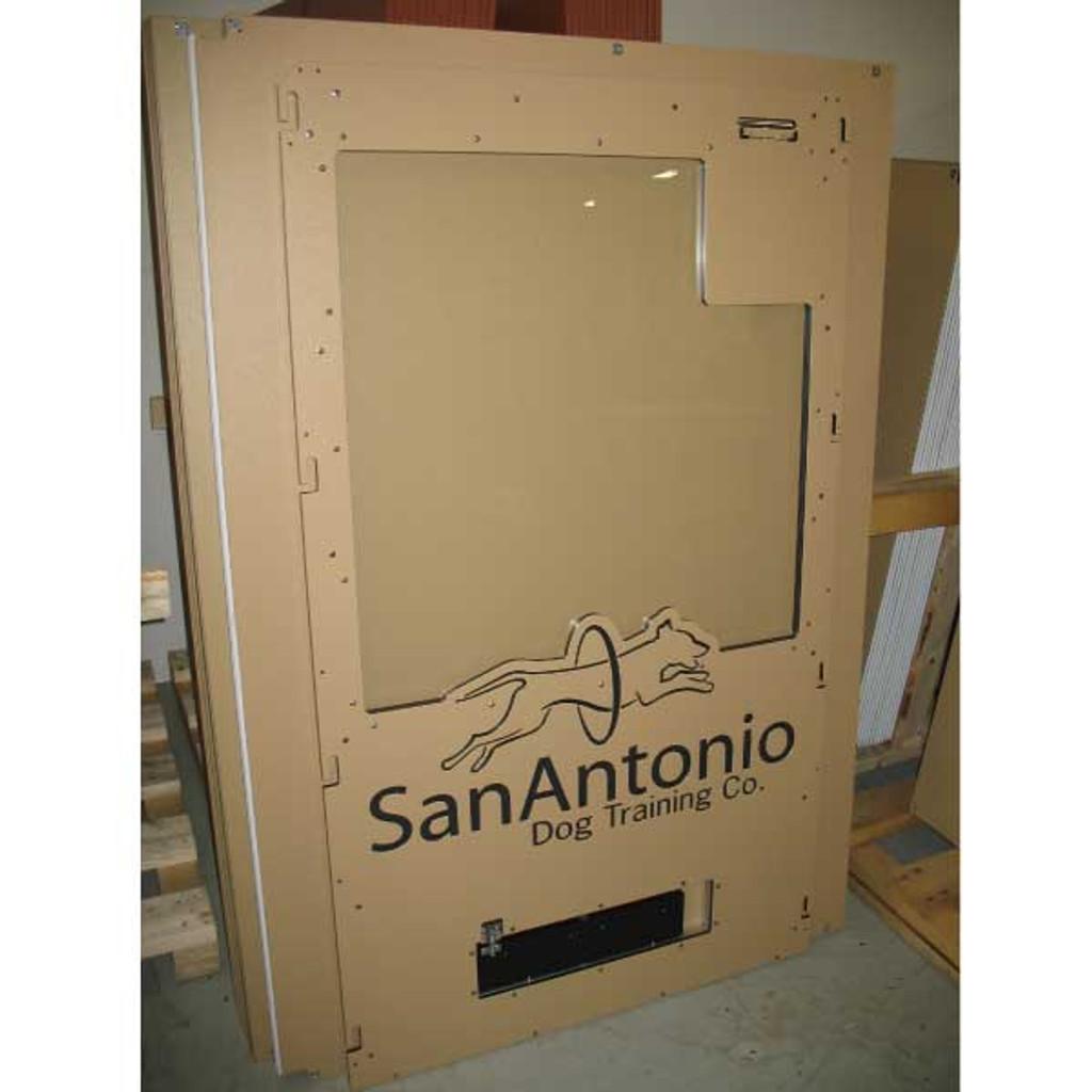 San Antonio Dog Training Gator Kennels gates with custom logo.