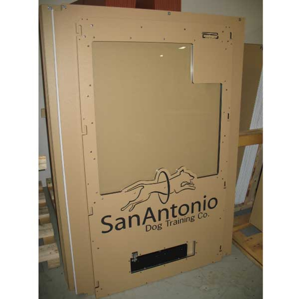 San Antonio Dog Training Gator Kennels gates with custom logo.