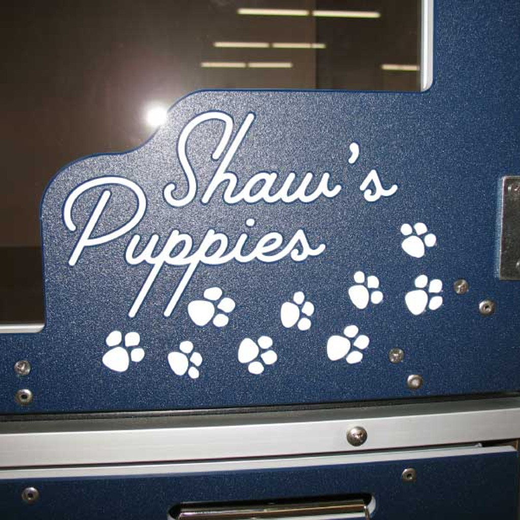 Shaw's Puppies custom logo on their Double Stack gates.