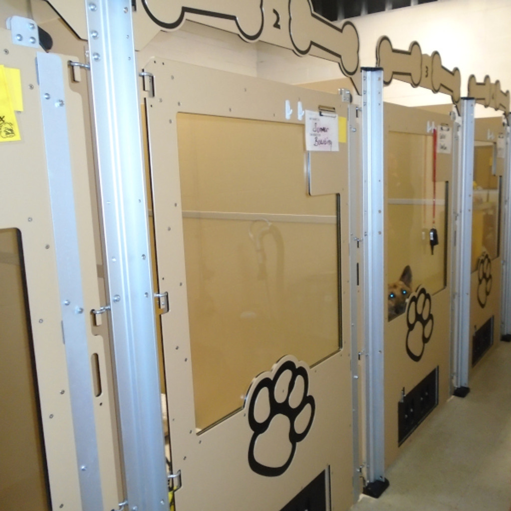 Sit Means Sit - Firestone, CO Gator Kennels Signature Series kennels in tan color.