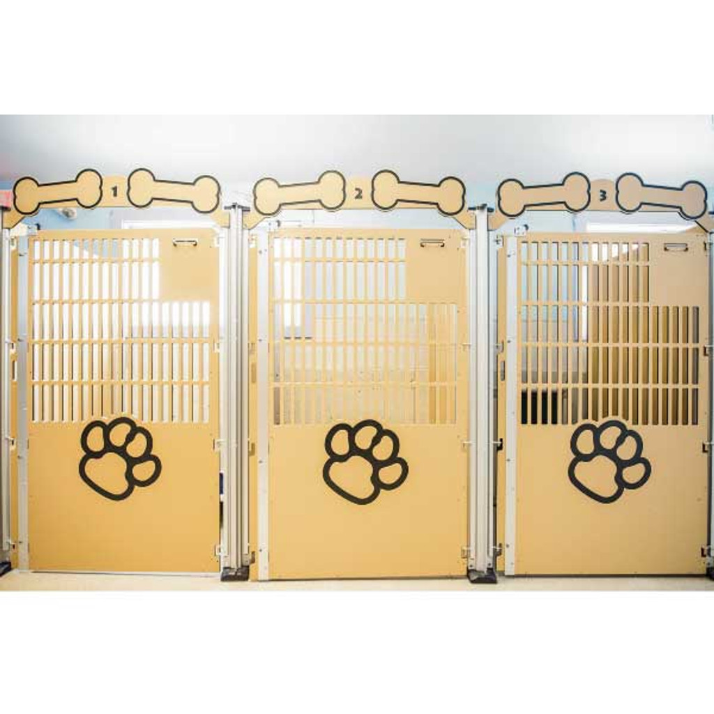 The Crate Escape's Gator Kennels Signature Series kennels in tan with the standard paw print.