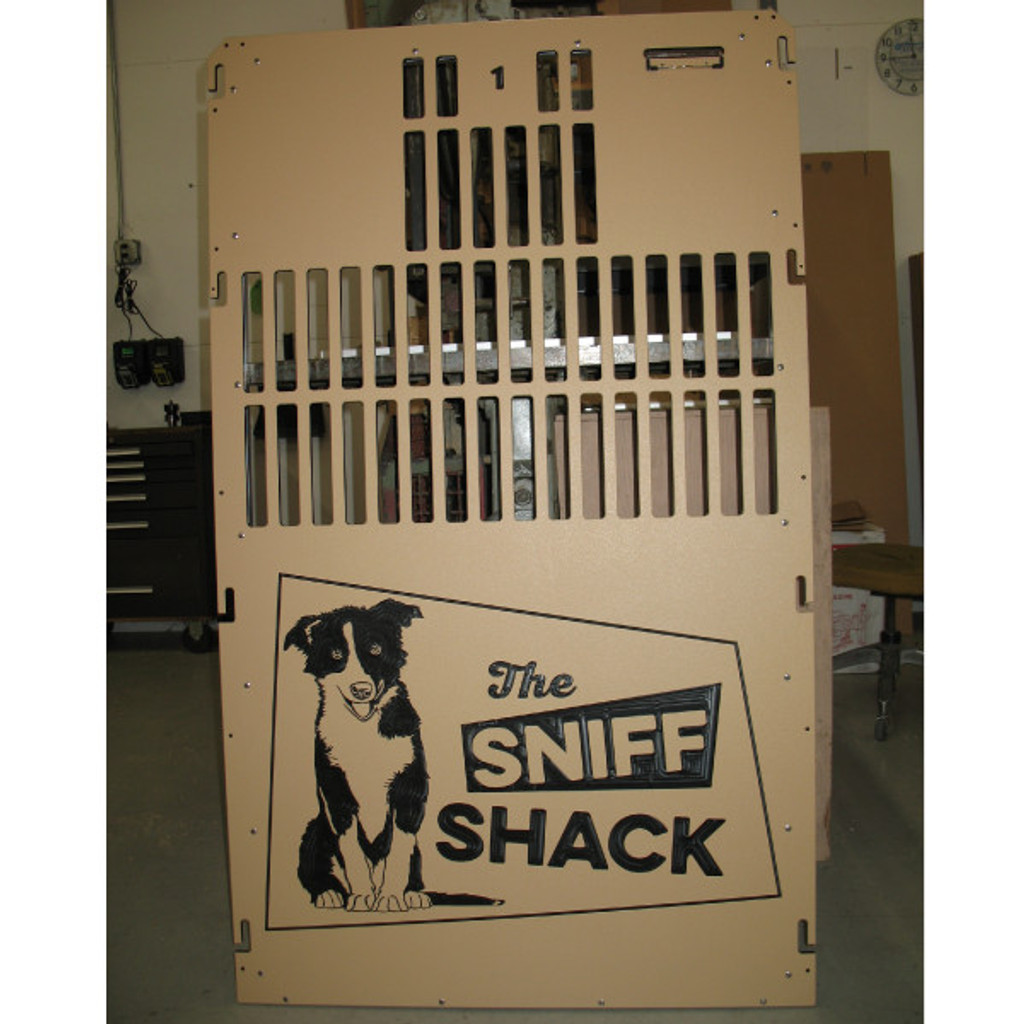 The Sniff Shack custom kennel gate from Gator Kennels.
