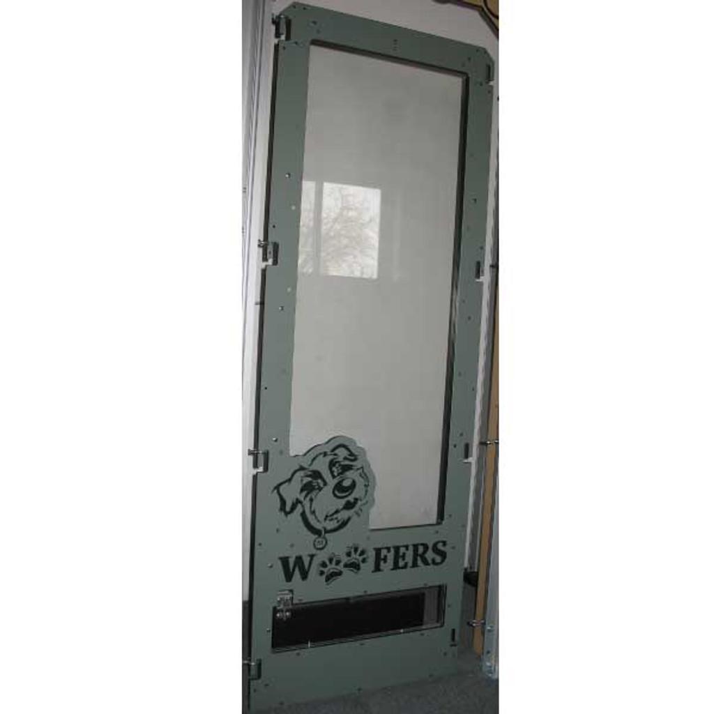 Woofers' custom Gator Kennels gate.