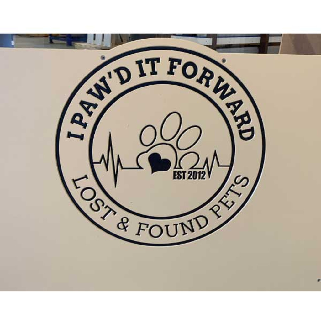I Paw'd It Forward's custom logo on their kennel gates.