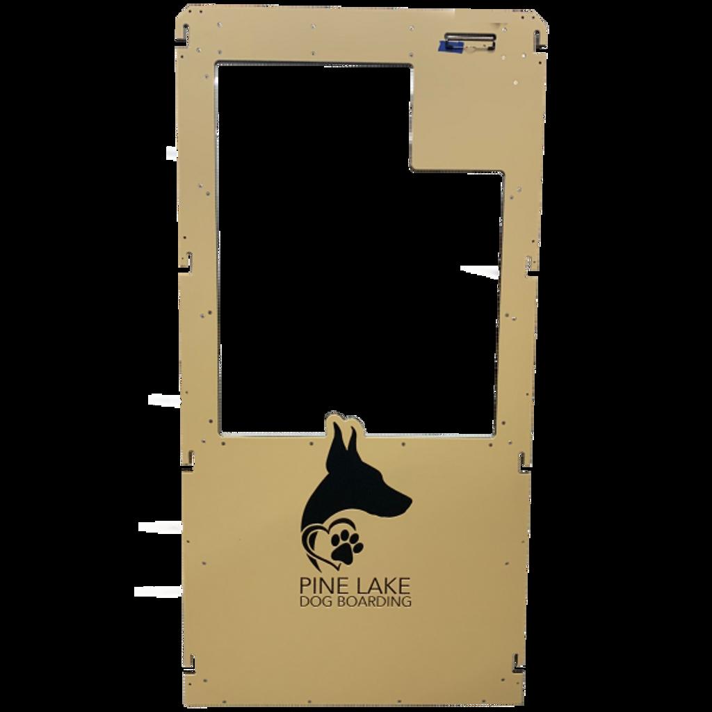 Pine Lake Dog Boarding's Gator Kennels gate in tan with custom logo.