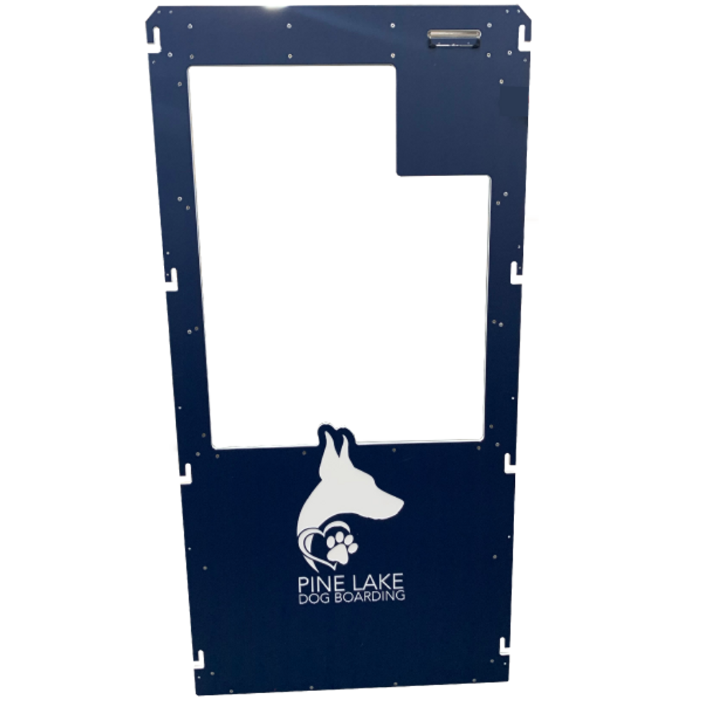 Pine Lake Dog Boarding's Gator Kennels gate in navy blue with custom logo.