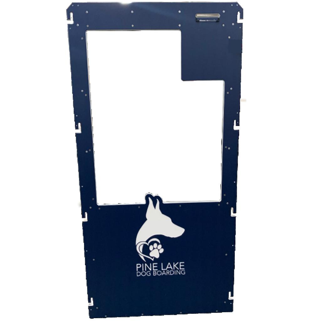 Pine Lake Dog Boarding's Gator Kennels gate in navy blue with custom logo.