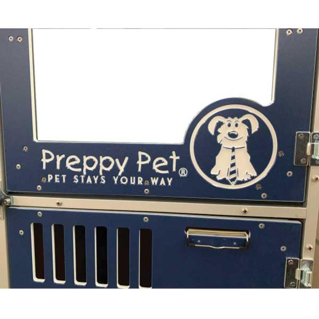 Preppy Pet's custom logo on their navy blue gates.