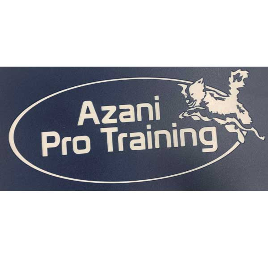 Azani Pro Training custom logo on their Gator Kennels gates in navy blue.