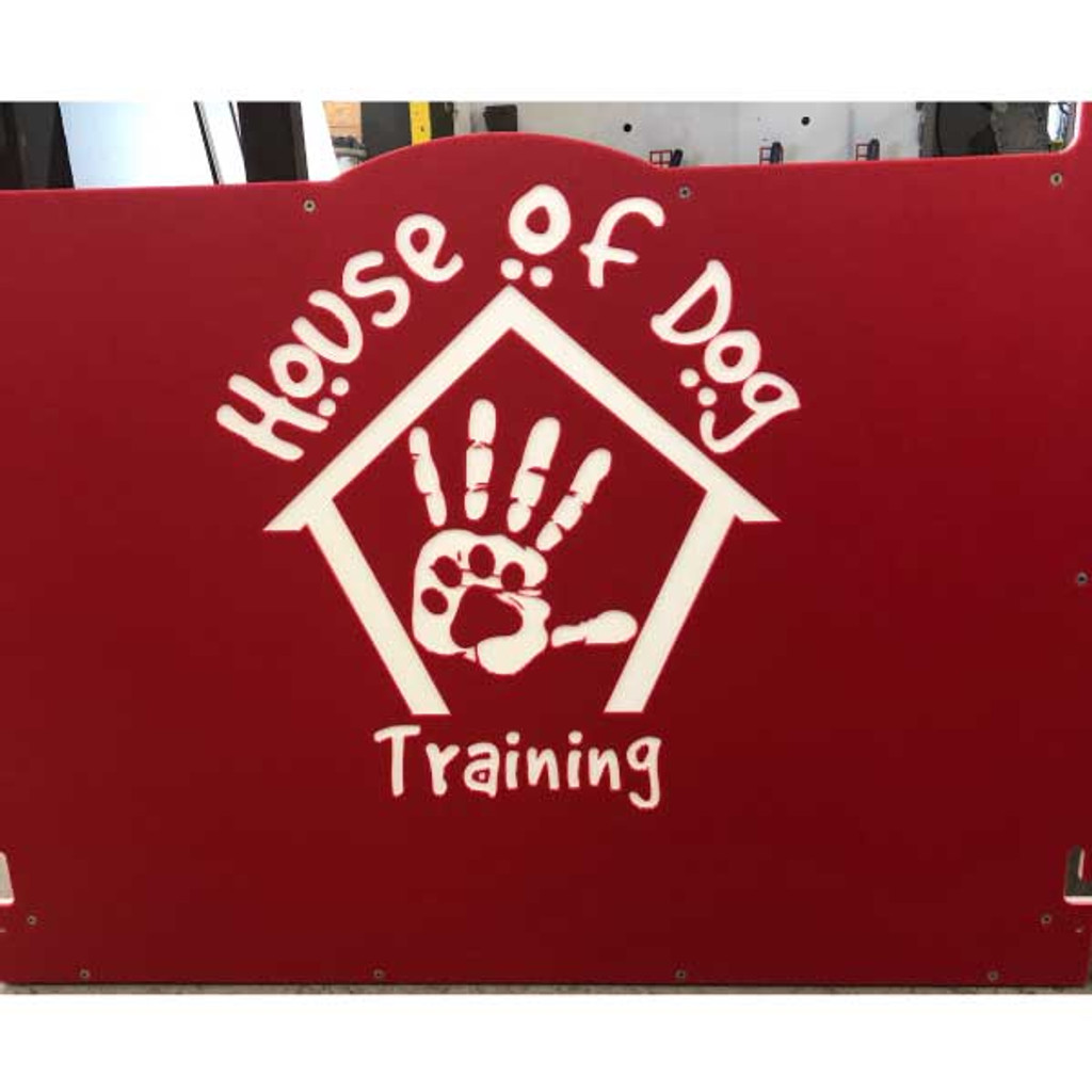 House of Dog Training Signature Series dog kennels in classic red with their custom logo.