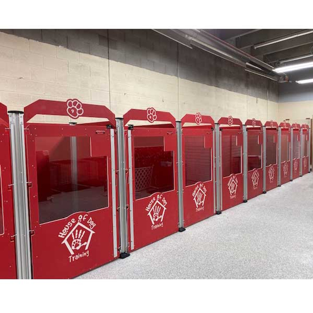 House of Dog Training Signature Series dog kennels in classic red.