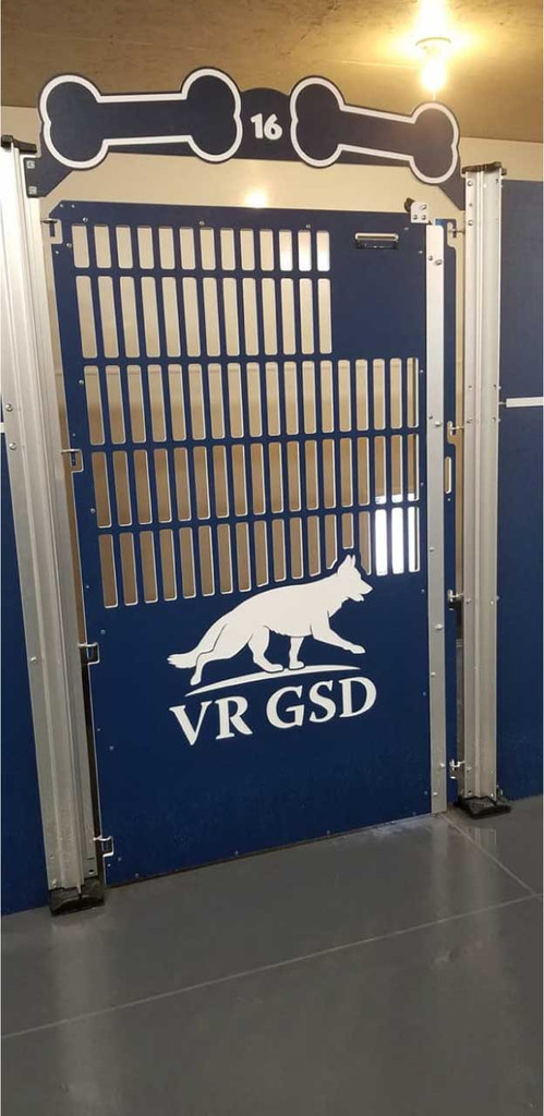 Von Rief German Shepherds' Gator Kennels dog kennels with custom logo.