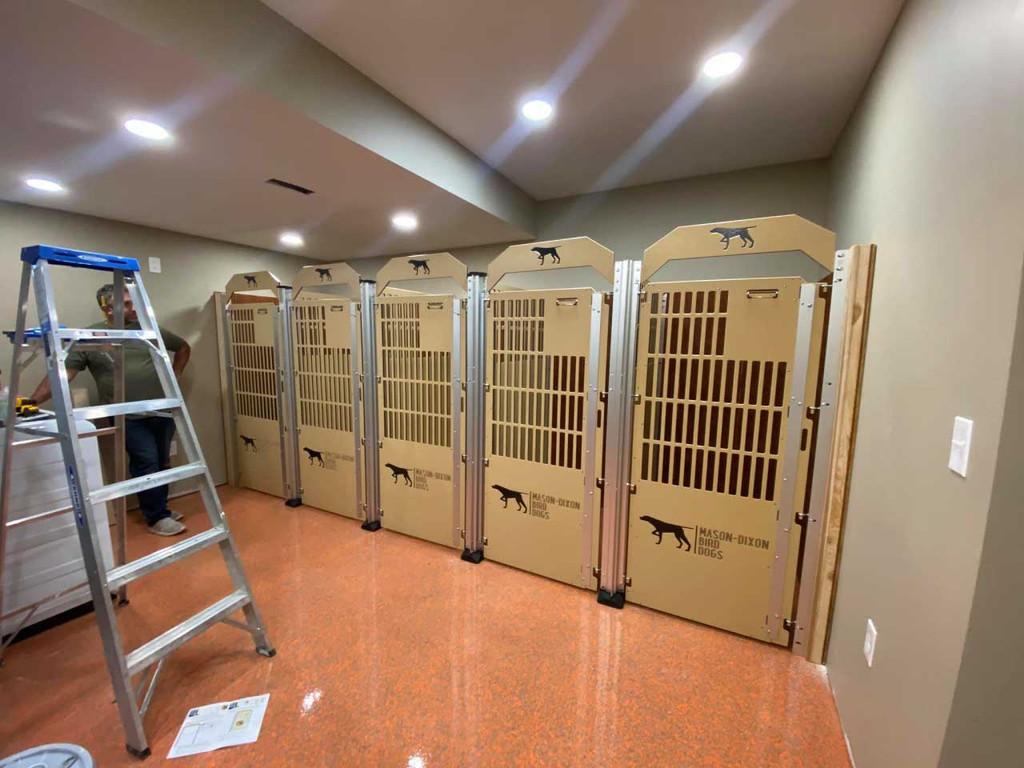 Mason-Dixon Bird Dogs' Gator Kennels custom dog kennels in tan.