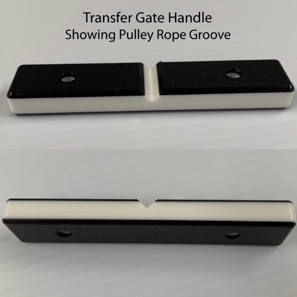 Transfer gate handle pulley rope groove