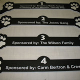 Paw-prints and names of the sponsors on gate headers.