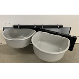 Dog food bowl swivel-feeder.