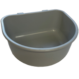 Plastic dog food bowl.