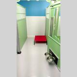 Inside custom dog kennel at Paw Palace.