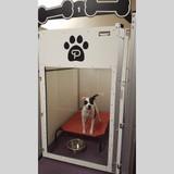 Poochville white custom dog kennels.