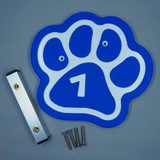 Blue paw kennel numbers / identifiers.