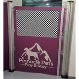 Pinnacle Pets custom dog kennel gate in purple.